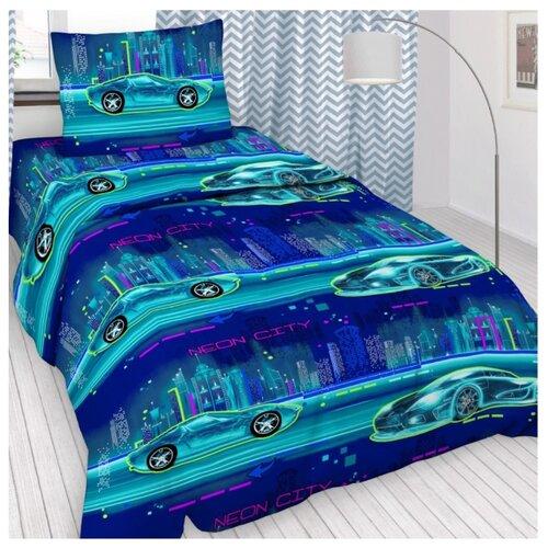 Постельное белье 1.5-спальное Letto Неон 50х70 бязь голубой цена 2017