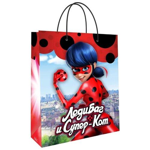 Пакет подарочный ND Play Леди Баг и Супер-Кот 18х23х10 красный