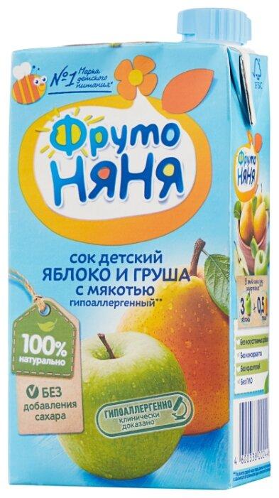 Сок ФрутоНяня из яблок и груш с мякотью, с 3 лет