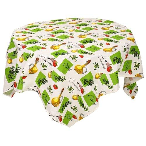 Скатерть Текстильная лавка Олива (Скр_150_4) 150х150 см белый/зеленыйСкатерти и салфетки<br>