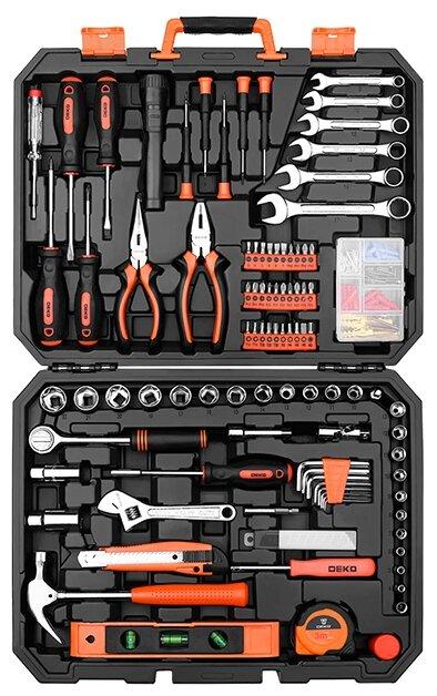 Набор инструментов и оснастки DEKO (208 шт.) DKMT208 черный/оранжевый