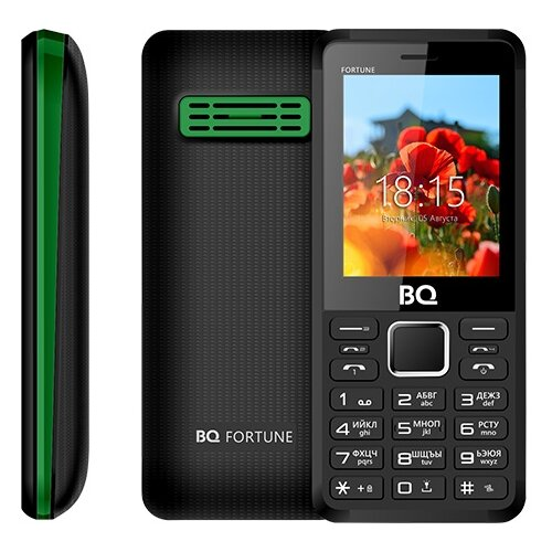 Телефон BQ 2436 Fortune Power черный / зеленый телефон