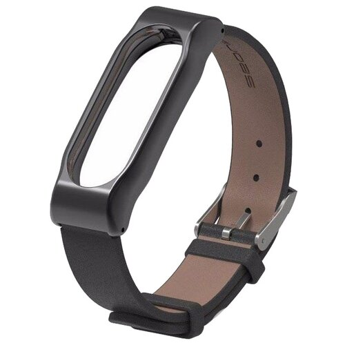 Titan Ремешок кожаный для Xiaomi Mi Band 3 черныйРемешки для умных часов<br>