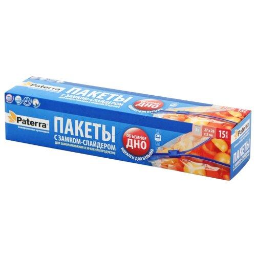 Пакеты для замораживания Paterra 109-004, 27 см х 26 см, 3 л, 15 шт зажим для рулетов paterra длина 39 см 4 шт