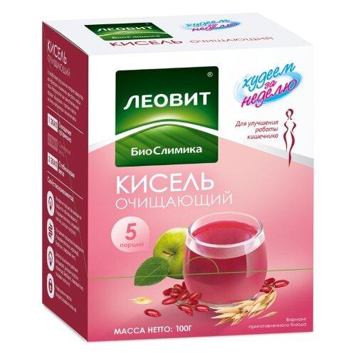 ЛЕОВИТ Худеем за неделю Кисель Очищающий порционный, 5 шт. в упаковке
