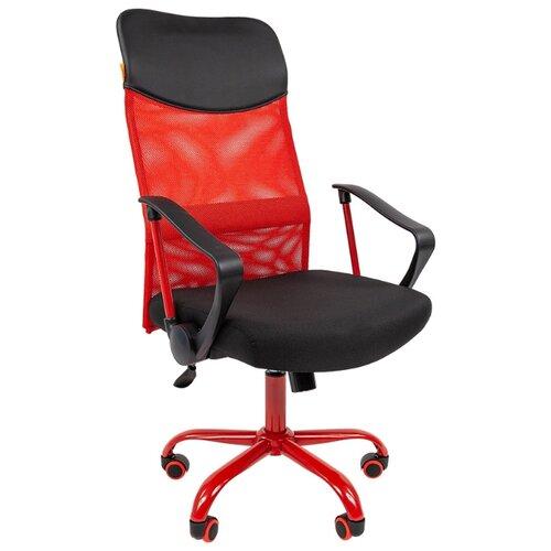 Фото - Компьютерное кресло Chairman 610 CMET для руководителя, обивка: текстиль/искусственная кожа, цвет: черный/красный компьютерное кресло chairman 668 lt для руководителя обивка искусственная кожа цвет черный бежевый