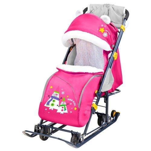 Санки-коляска Nika Ника-детям 7-6 (НД7-6) со снеговиками розовый санки коляски ника детям 6 енот зеленый серый