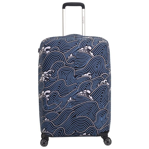 Чехол для чемодана METTLE Волна M, голубой/белыйЧемоданы<br>