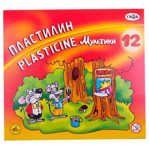 Пластилин ГАММА Мультики 12 цветов (280018/281018)Пластилин и масса для лепки<br>