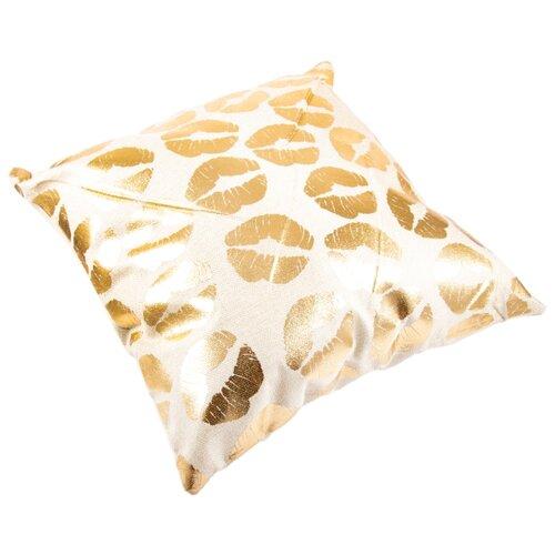 Чехол для подушки Русские подарки 76324, 45 х 45 см белый/золотой