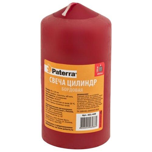Свеча Paterra цилиндр 6*12 см бордовая