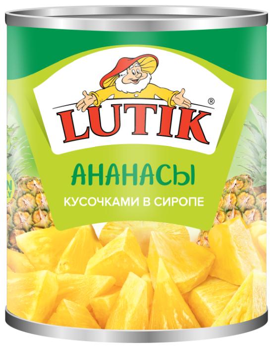 Консервированные ананасы Lutik кусочками в сиропе, жестяная банка 560 г