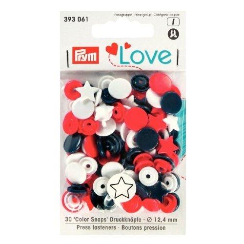 Prym Кнопки непришивные Love - Color Snaps звезда 393061, красный/белый/темно-синий 12.4 мм, 30 шт.
