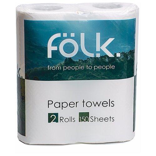 Полотенца бумажные Folk белые двухслойные 2 рул.