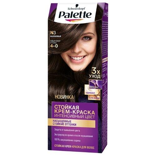 Palette Интенсивный цвет Стойкая крем-краска для волос, №3 4-0 КаштановыйКраска<br>