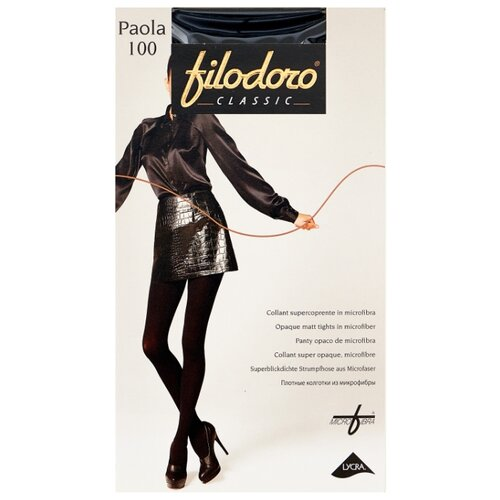 колготки женские filodoro classic cotton wool 100 цвет nero черный c113560cl размер 4 46 48 Колготки Filodoro Classic Paola 100 den, размер 4-L, nero (черный)