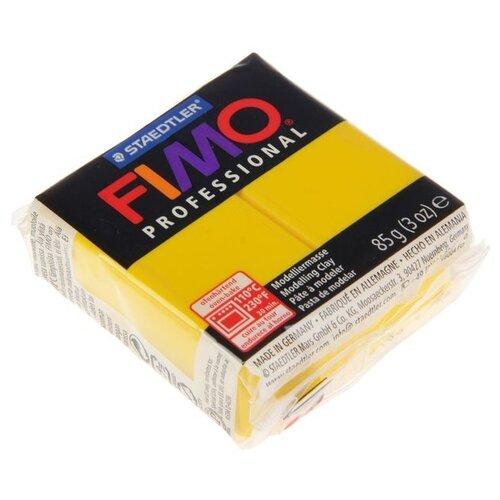 Купить Полимерная глина FIMO Professional запекаемая 85 г чисто-желтый (8004-100), Глина