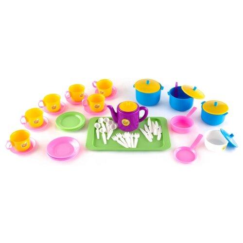 Набор посуды Пластмастер Позови гостей 21057 розовый/голубой/желтый набор посуды пластмастер чайный 21001 разноцветный