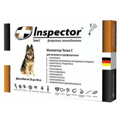 Inspector Total C Капли от блох, клещей и гельминтов для собак от 25 до 40 кг капли для кошек inspector от 4 8кг капли от внеш и внутр паразитов 1 пипетка