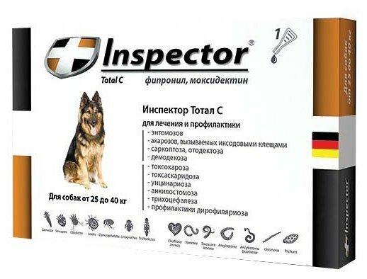 Инспектор (Inspector) капли от внешних и внутренних паразитов для собак от 25 до 40кг, 1 шт