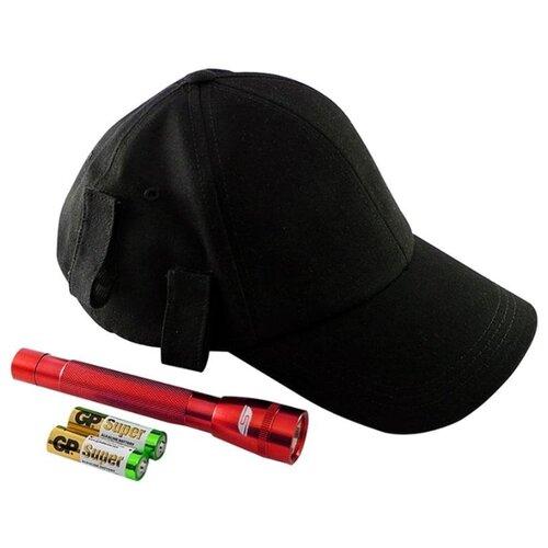 Ручной фонарь SOLARIS F-5 с бейсболкой черный/красный