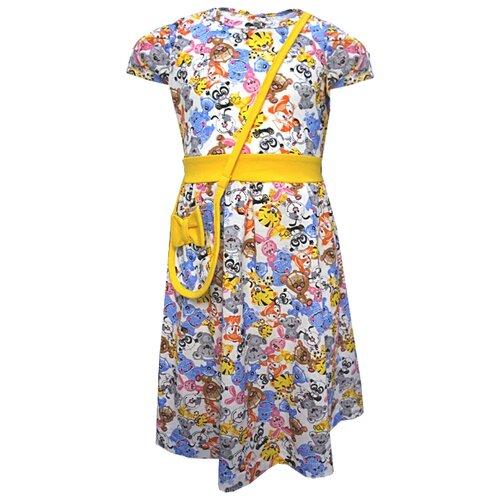 Платье TREND размер 104-56(28), 5003 белый/игрушки/желтыйПлатья и сарафаны<br>