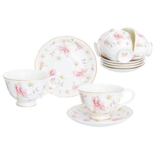 Чайный сервиз Elan gallery Диана (740254), 6 персон белый/розовый