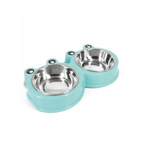 Миска Удачная покупка P0027-L двойная голубой / серебристый