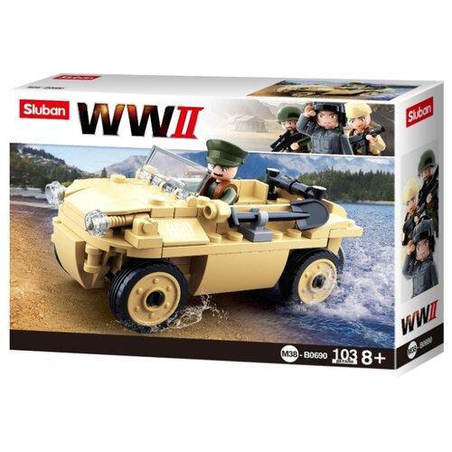 Конструктор SLUBAN WW2 M38-B0690 Грузовик-амфибия конструктор sluban армейский грузовик m38 b0301 230 элементов