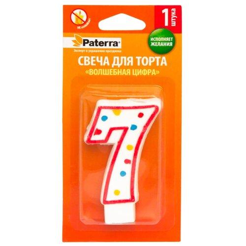 Paterra Свеча для торта Волшебная цифра 7 белый/красный