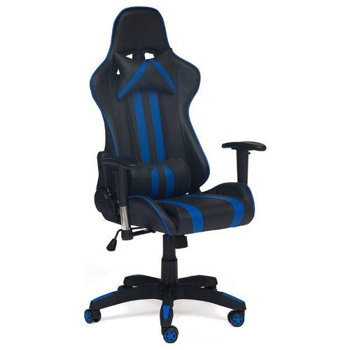 Компьютерное кресло TetChair iCar игровое, обивка: искусственная кожа, цвет: черный/синий компьютерное кресло tetchair барон обивка искусственная кожа цвет бежевый