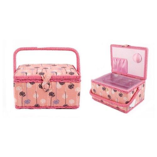 Шкатулка Русские подарки для рукоделия 26х19х15 см розовый/цветы