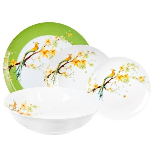 Фото - Столовый сервиз Domenik Paradise Bird DM9012, 6 персон, 19 предм., белый/зеленый столовый сервиз domenik meadow dm9373 6 персон 19 предм белый цветы