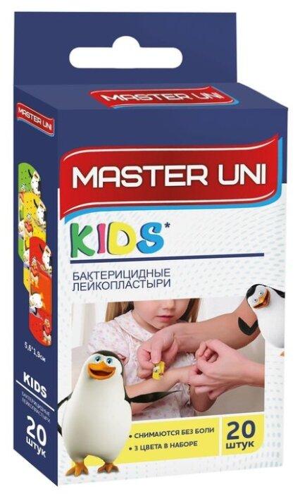 Master Uni Kids лейкопластырь бактерицидный на полимерной основе с рисунками, 20 шт.