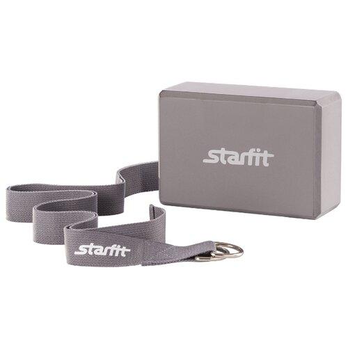 Набор для йоги Starfit FA-104 серый ролик для йоги и пилатеса starfit fa 506 цвет зеленый 15 х 15 х 90 см