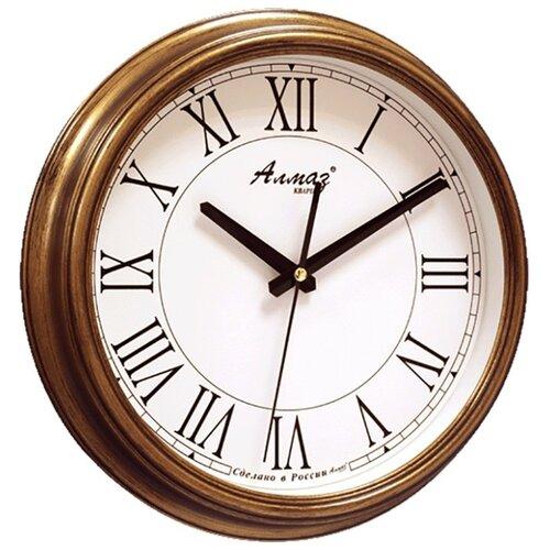 Часы настенные кварцевые Алмаз A88-A91 бронзовый/белый