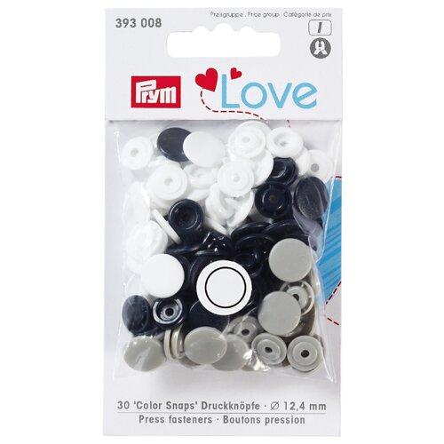 Prym Кнопки непришивные Love - Color Snaps 393008, темно-синий/серый/белый 12.4 мм, 30 шт.