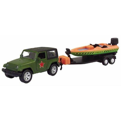 Купить Внедорожник Autotime (Autogrand) USA Allroad 4WD армейская с катером (49533) 1:36 зеленый / черный / коричневый, Машинки и техника