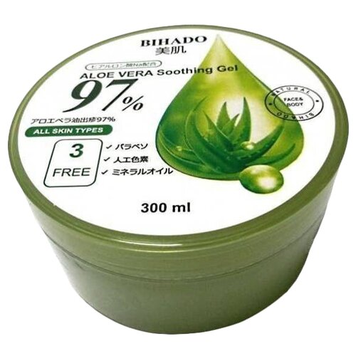 Гель для тела Bihado Увлажняющий с экстрактом алоэ Aloe vera soothing gel 97%, банка, 300 мл mizon aloe 90 soothing gel алоэ