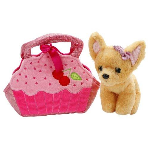 Купить Мягкая игрушка Играем вместе Собака чихуахуа в розовой сумочке в виде кекса 19 см, Мягкие игрушки