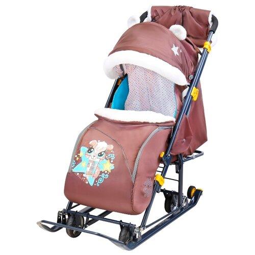 Санки-коляска Nika Ника-детям 7-6 (НД7-6) с бельчонком шоколадный санки коляски ника детям 6 енот зеленый серый