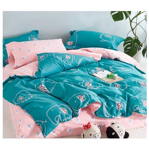 Постельное белье евростандарт Your dream Дамбо сатин голубой / розовыйКомплекты<br>