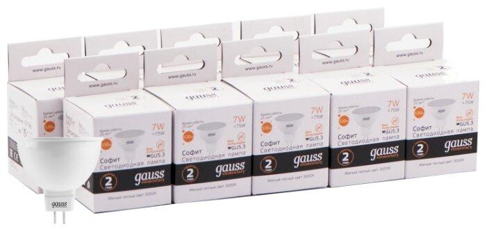 Упаковка светодиодных ламп 10 шт gauss 13517, GU5.3, MR16, 7Вт — купить по выгодной цене на Яндекс.Маркете