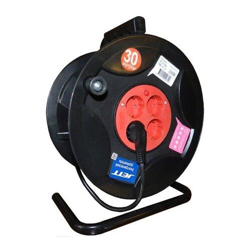 Jett Электрический удлинитель на катушке 4 гн. с заземлением 30 м (ПВС 3x1,5) 1208470 brennenstuhl удлинитель на катушке garant 40 м прорезинный кабель cablepilot
