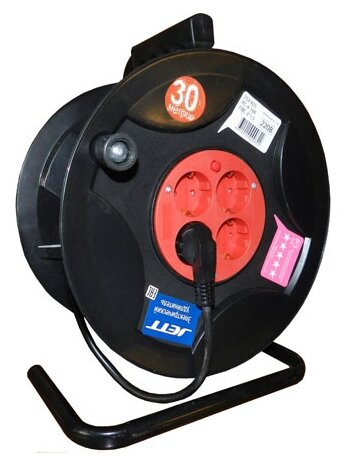 Jett Электрический удлинитель на катушке 4 гн. с заземлением 30 м (ПВС 3x1,5)
