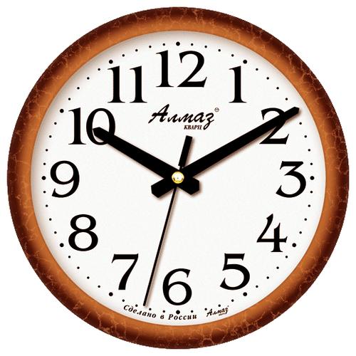Часы настенные кварцевые Алмаз E21 коричневый/белый