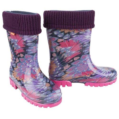 Резиновые сапоги Demar размер 34/35, фиолетовый/голубой/розовыйРезиновые сапоги<br>