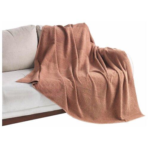 Покрывало Allegro Цветы махровое, 160 х 200 см, коричневый