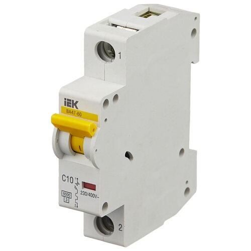 Автоматический выключатель IEK ВА 47-60 1P (C) 6kA 10 А iek mva41 2 006 c авт выкл ва 47 60 2р 6а 6 ка х ка с иэк