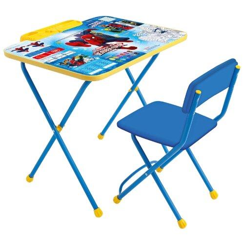 Купить Комплект Nika Человек-паук (Д2Ч) 60x45 см синий/желтый, Парты и столы